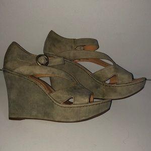 Born Crown high heel wedge suede sandals